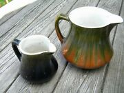 Antique Early Roseville Pottery Pitchers Small And Large Size Blended Glaze
