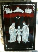Catholic Jesus Mother Mary Joseph Inlaid Mother Of Pearl Lacquered Wood Wall Art