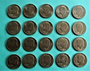 20- Eisenhower Dollar Coins. And03971-and03972-and03975-and03976-and03977 Some Mint Marks. Circulated.