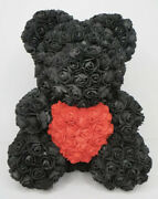 Black Rose Teddy Bear Large 14 Inch With Red Heart Artificial Foam Flower New