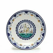 Majolica Montelupo Majolica Wall Plate With Central Figurine 11d