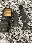 76 100 Paulson Top Hat Cane Poker Chips - Cod Gold Charcoal Casino Vintage
