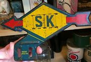 Vintage 1920and039s Sunoco 8 X 5 1/4 Inch Metal License Plate Topper Sign Oil Can