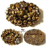 Vintage Early Unsigned Miriam Haskell Ab Rhinestone Gold Tone Mirror Brooch Pin