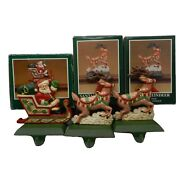 Vtg Midwest Cannon Falls Santa Sleigh Reindeers 3 Cast Iron Stocking Holders Set