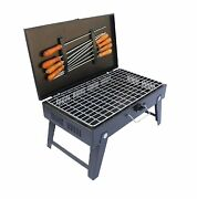 New Folding Portable Briefcase Outdoor Barbeque Charcoal Grill With 8 Skewers