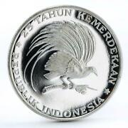 Indonesia 200 Rupiah 25th Anniversary Independence Great Bird Silver Coin 1970