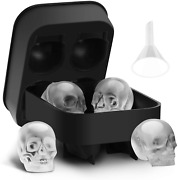 New Ice Cube Tray 3d Skull Silicone Mold Lid Best For Freezer Ice Cube Mold