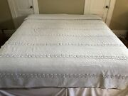 """Vintage Unbranded Twin Size Chenille Bedspread Light Periwinkle/lavender 70x104"""""""