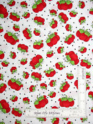 Loralie Designs Sew Red Pin Cushion Tomato Toss White Cotton Fabric By The Yard