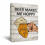 Funny Beer Vintage Wooden Canvas Wall Art Bar Decorations Beer Signs For Man ...