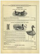 1899 Paper Ad Kankakee Wood Duck Decoy Canvas Collapsible Geese Allen Calls