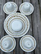 24-pc Mid-century Vintage Corelle Butterfly Gold Dinnerware Set Plate Cup Saucer