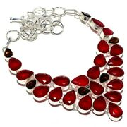 Faceted Ruby Garnet Gemstone Handmade Silver Jewelry Necklace 18 Sk-284