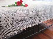 Vintage Style Design Hand Crochet Table Cloth Cover Bedspread Coverlet Beige Xxl