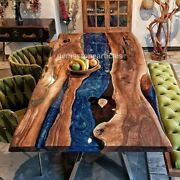 Epoxy Dinner Table Top Acacia Wooden Table Custom Order Resin Interior Decors
