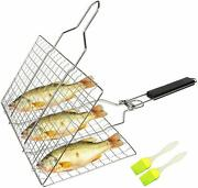 Barbeque Grilling Basket With Removable Handle For Vegetables. Fish, And Meat