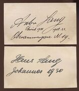 Anton Lang And Hans Lang Signed Cards 1933 Autographed Authentic Oberammergau