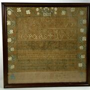 Antique Sampler Framed 22x22 Depressing Saying By Mary Gould Hardy Early 1800's