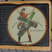 Vintage 1951 Canada Dry Ginger Ale 'western Lady' Porcelain Gas And Oil Metal Sign