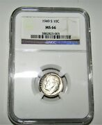 1949 S Roosevelt 10c Silver Dime Ngc Ms66