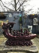 Vintage Red Resin Chinese Oriental Group Of Figures On Barge 39 X 23cm