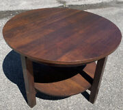 """L And Jg Stickley 42"""" Round Center Library Table Arts Crafts Oak Mission"""