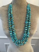 Vintage Turquoise Nugget And Heishi Bead Necklace