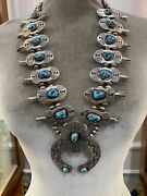 Vintage Turquoise And Sterling Silver Squash Blossom Necklace And Earrings