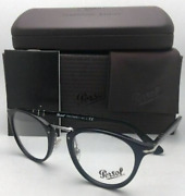 New Persol 👓 Reading Glasses 3107-v 95 47-22 Black And Silver Frames Readers
