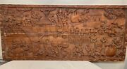 Huge Vintage Hand Carved Wood Kungoni South African Wall Relief Sculpture Plaque