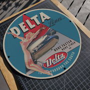 Vintage 1948 Delta Airlines And039and039dancing Girland039and039 Porcelain Gas And Oil Metal Sign