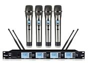 4 Channel Uhf Professional Wireless Vocal Microphone System Karaoke Church Vocal