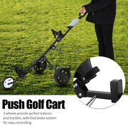 3 Wheel Push Golf Trolley Quick-fold Compact Lightweight Cart With Footbrake