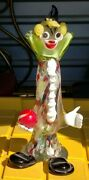 Murano Contemporary Italian Blown Colorful Glass Figure Of A Clown W/red Marble.
