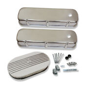 For 1965-1995 Bbc Smooth Top Tall Valve Covers W/ 15'' Half Finned Air Cleaner