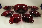 7 Vintage Anchor Hocking Coronation Glass Royal Ruby Red Berry Bowl Depression