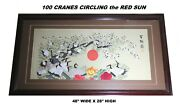 Exquisite Framed Antique Early 20th Chinese Silk Embroidery Bird Panel 48x28
