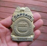 Vintage Antique Burns Security Systems Captain Metal Police Badge