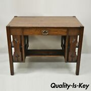 Antique Arts And Crafts Tiger Oak Mission Bookcase Sides Writing Desk With Drawer