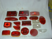Lot Of 18 Nos Vintage Red Glass Car Tail Light Lenses Dodge And Some Chevy