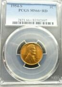 1954-s Lincoln Wheat Cent - Pcgs Ms66+ Red