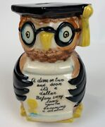 Vtg Owl Piggy Bank Ceramic Cap And Gown Fred Roberts Co. Graduation 6