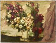 Vintage Antique French Abstract Impressionist Large Floral Original Oil Painting
