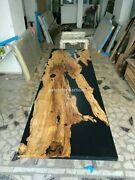 Black Resin Epoxy Acacia Wood Side Living Table Handmade Furniture Interior Déco