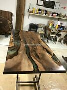 Wooden Acacia Epoxy Resin Clear River Center Conference Table Top Handmade Decor
