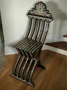 Antique Incredible Completely Inlaid Folding Chair From Middle East