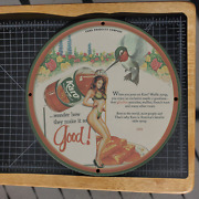 Vintage 1958 Corn Product Co.and039s Karo Waffle Syrup Porcelain Gas And Oil Metal Sign