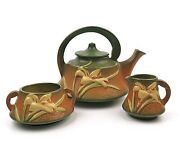 Vintage Roseville Pottery Zephyr White Lily Brown And Green 4 Pc Tea Coffee Set