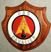 Uss Cavalier Apa 37 Painted Metal Command Plaque Ww2, Cold War Attack Transport